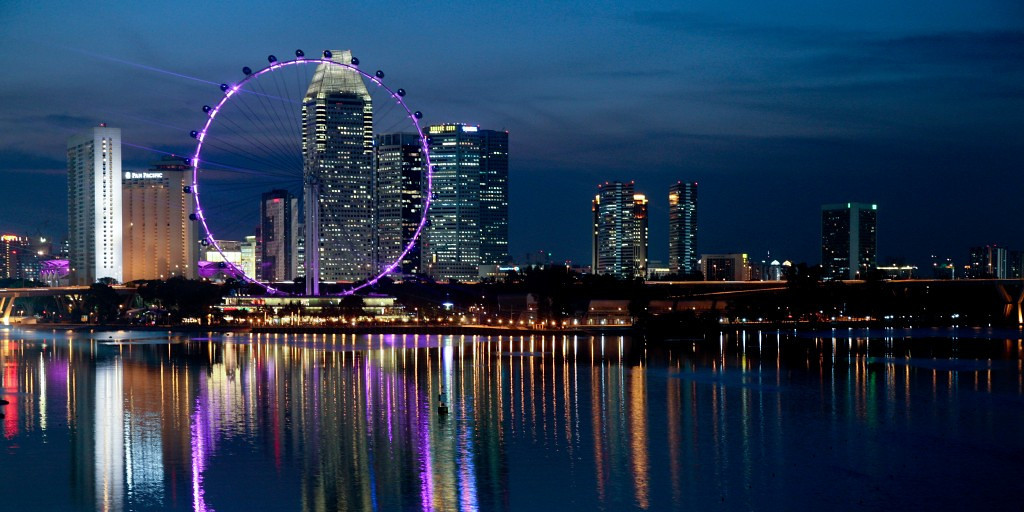 Singapore Flyer on the water front