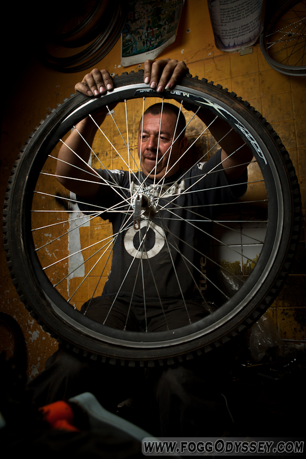 Men working bike tire