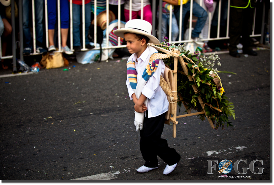 Flower Festival Parade in Medellin, people Colombians