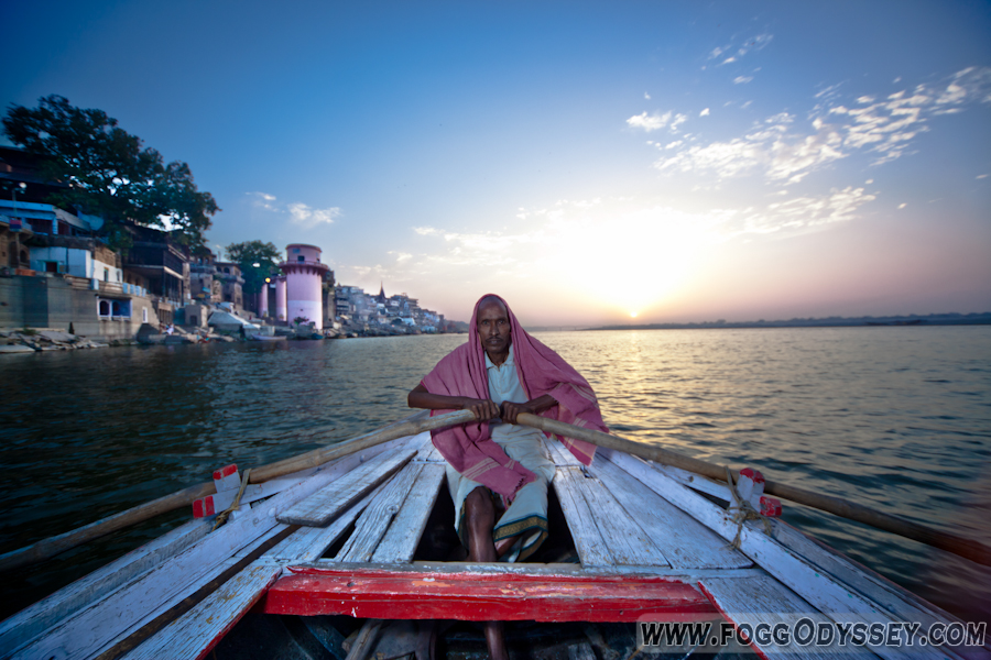 Varanasi boats and Ganga Ghats River