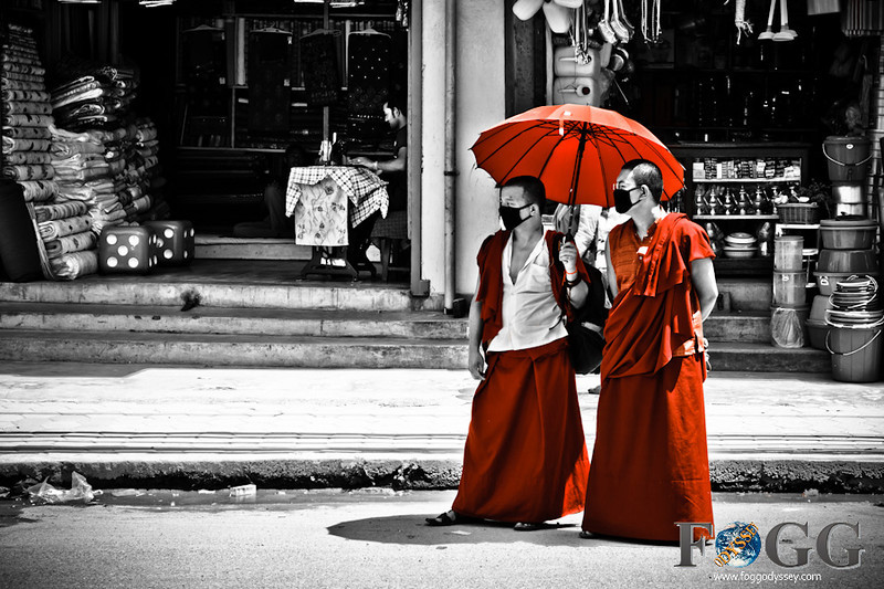 Monks Holy Men Umbrella red